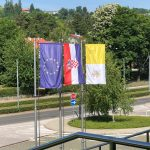 flags of the Vatican, Croatia and EU in Zagreb